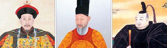 王朝時代の中国が強調した道徳経済の実情は、皇帝と少数の官僚が地方の有力者と手を握って民に負担を転嫁する構造だった。朝鮮と日本はそれぞれの形で中国モデルを受け入れた。左から清の乾隆帝、朝鮮の英祖、日本の徳川家康。[中央フォト]