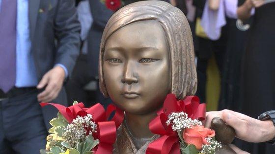 米国に設置された平和の少女像