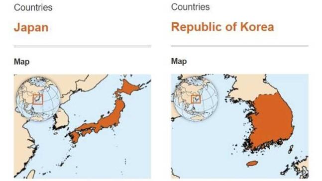 WHOサイト修正前、国情報サービスの日本(左)と韓国(右)の紹介地図。
