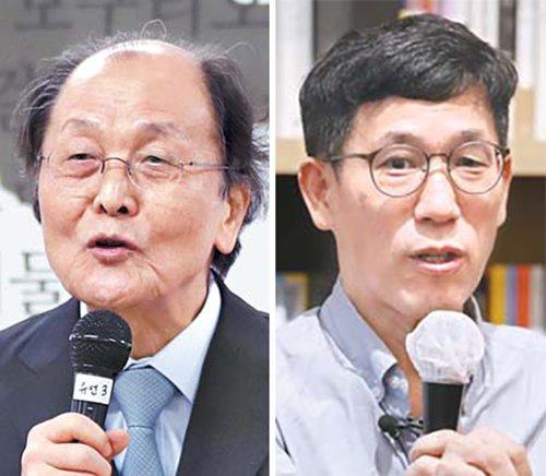 小説家の趙廷来(チョ・ジョンネ)氏(左)と元教授の陳重権(チン・ジュングォン)氏(右)