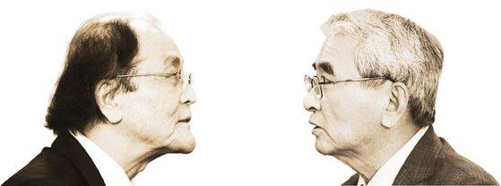 小説家・趙廷来(チョ・ジョンレ)氏(左)、『反日種族主義』の著者・李栄薫(イ・ヨンフン)氏
