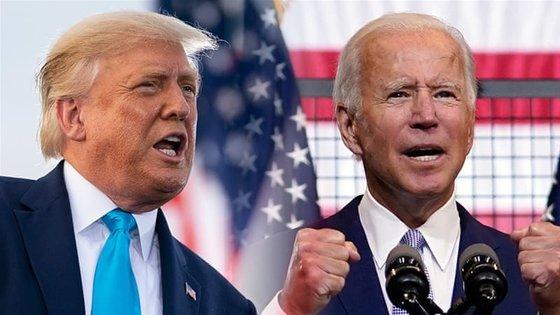 米大統領選の2人の主人公、トランプ大統領(左)と民主党のバイデン氏。[中央フォト]