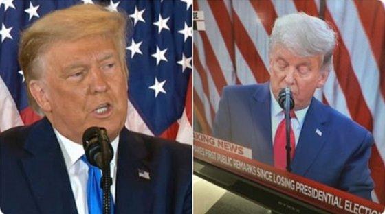 トランプ大統領の黄色の髪の毛(左側)と白くなった髪の毛。[写真 ツイッターキャプチャー]
