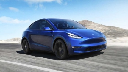 電気自動車トップのテスラが3年ぶりに発売した電気SUVの「モデルY」。普及型電気自動車であるモデル3と部品の75%を共有する。[写真 テスラ]
