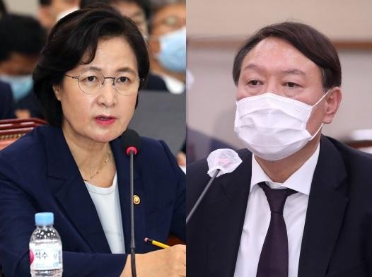 秋美愛(チュ・ミエ)法務部長官、尹錫悦(ユン・ソクヨル)検察総長