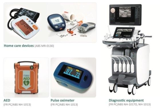 ロッテ先端素材が生産した素材で作った医療装備。不燃性があり衝撃にも強い素材を使う。[写真 ロッテ先端素材]