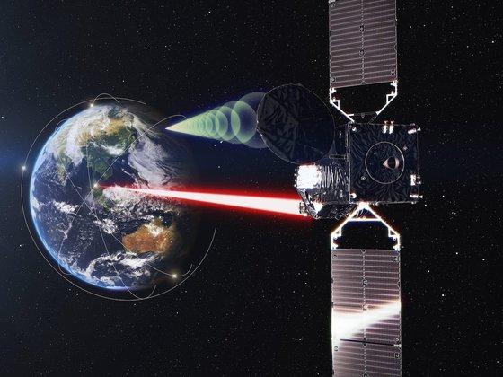 日本の新型データ中継衛星(DRS)はレーザー光を利用して大容量データを高速で伝送する。 [宇宙航空開発研究機構(JAXA)]
