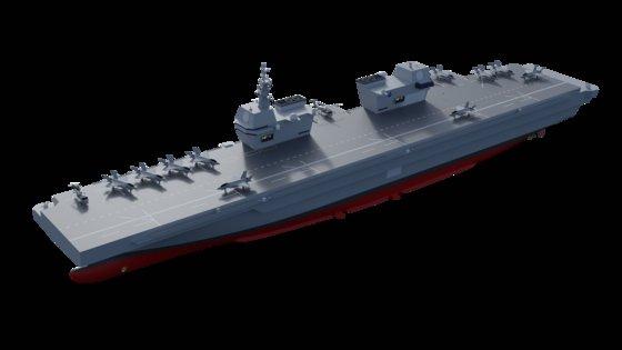 海軍が推進する軽空母のコンピューターグラフィック。英空母「クイーン・エリザベス」のように艦橋が2つある。米国の強襲揚陸艦「アメリカ」のように平らな甲板だ。 [韓国海軍]