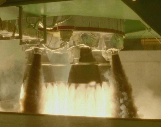 「ヌリ号」ロケットエンジン4基結合燃焼試験に成功 [写真 韓国航空宇宙研究院]
