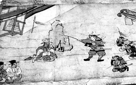 日本の代表的な歴史歪曲の一つ「任那日本府説」を描いた巻き物。4世紀、日本の神功皇后が倭軍を率いて新羅を征伐したという古代歴史書『日本書紀』の内容を描いた。 [中央フォト]