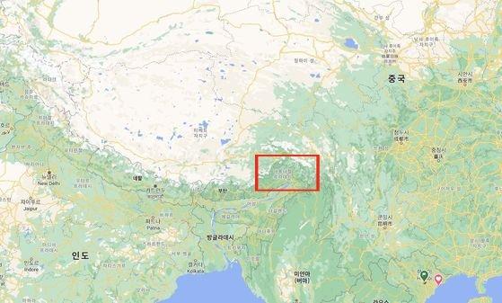 中印の領有権紛争地域[写真 グーグルマップ キャプチャー]
