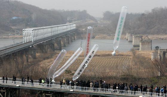 2009年、北朝鮮による拉致被害者の家族会、自由北朝鮮運動連合などが京畿道坡州(キョンギド・パジュ)の臨津閣(イムジンガク)で北朝鮮向けビラを飛ばす姿[中央フォト]