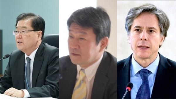 鄭義溶韓国外交部長官、茂木敏充日相、アントニー・ブリンケン米国務長官