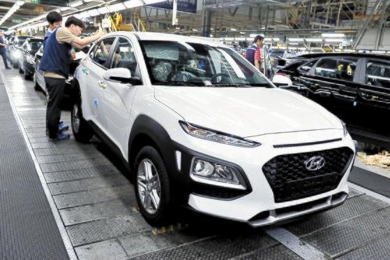 現代車蔚山(ウルサン)第1工場の「コナ」生産ライン 写真=現代車