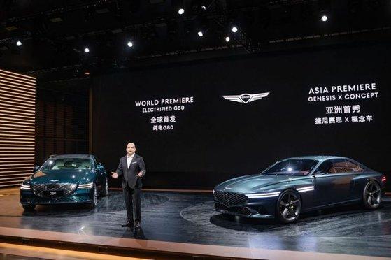 現代自動車は先月の上海モーターショーでジェネシス「G80」の電気自動車を初めて公開した。[写真 現代自動車]