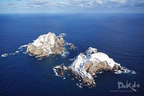 外交部が公開した独島(ドクト)の冬の風景の写真。[写真 外交部]