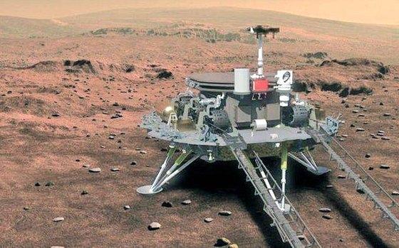 15日に火星に着陸した中国の火星探査船「天問1号」の想像図。[写真 中国国家航天局]