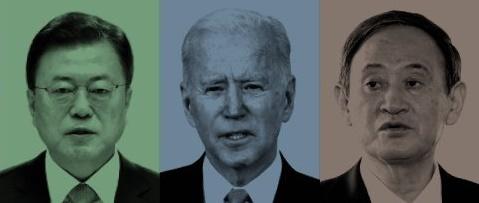 韓国の文在寅大統領、米国のジョー・バイデン大統領、日本の菅義偉首相