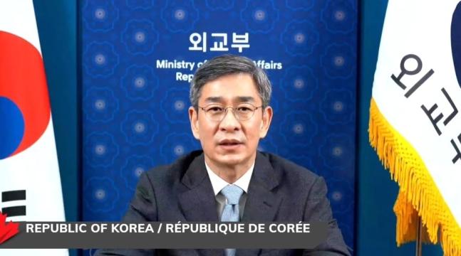 17日、ベネズエラ難民および移住民関連供与国会議にオンラインで参加した韓国外交部の咸相旭(ハム・サンウク)多者外交調整官。 写真=外交部