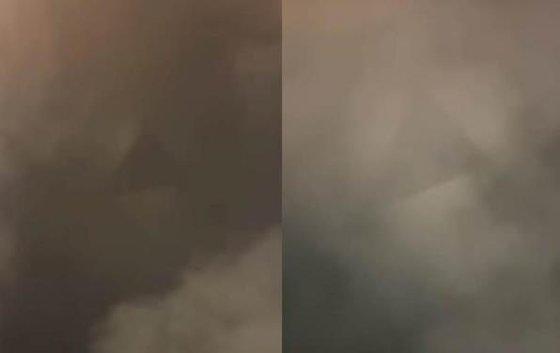 今月21日夜、上海のランドマークである東方明殊塔(オリエンタルパールタワー)付近の上空で、三角形の形をした物体が観察された。[写真 微博 キャプチャー]