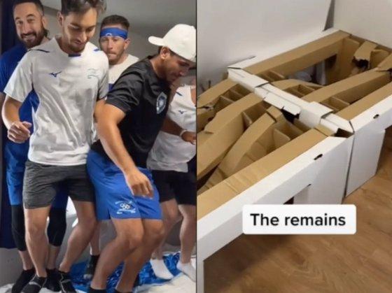 イスラエル野球チームの選手たちがベッドがつぶれるまで1人ずつ乗って、マットレスの上でジャンプする映像をSNSに投稿した。[写真 インターネット キャプチャー]
