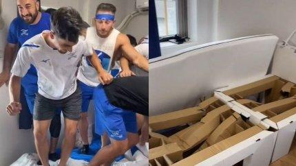 イスラエル野球代表チーム選手ベン・ワンガーとが「TikTok」に投稿した映像の一場面。9人が乗ったベッドは大きく損傷した。[写真 SNSキャプチャー]
