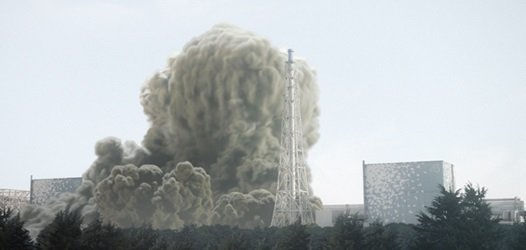 2011年3月12日、福島第1原発1号機で水素爆発が発生し、白い煙が広がっている。 [中央フォト]