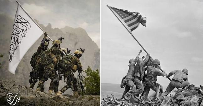 タリバン旗掲揚の様子と硫黄島星条旗掲揚の様子。[AP=聯合ニュース]