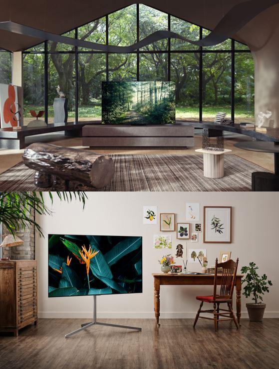 サムスン電子の「Neo QLED」テレビ(写真上)とLGエレクトロニクスの「OLED evo」(写真下)。今年上半期に世界テレビ市場で両社のシェアは50%を記録した。特に、プレミアムテレビ市場で強い。[写真 各社]