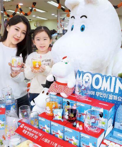 韓国で開かれたムーミンのキャラクター商品のイベント。