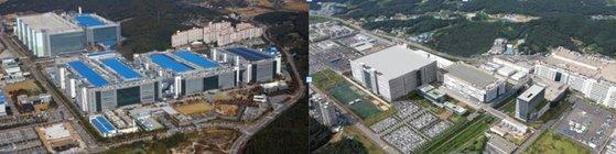 サムスンディスプレイ(左側)とLGディスプレイの各工場全景。[写真 サムスンディスプレイ、LGディスプレイ]