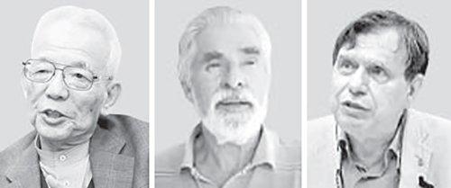 真鍋淑郎氏、クラウス・ハッセルマン氏、ジョルジョ・パリ―ジ氏(左から)。